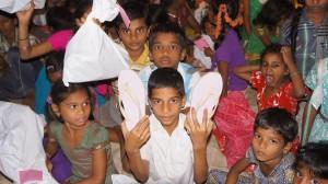 Children with their flip-flops