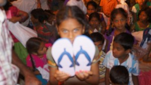 A girl with her new Flip-flop