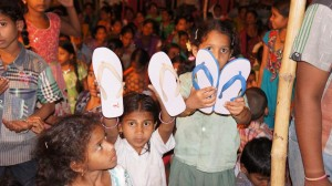Children Showing Their Shoes